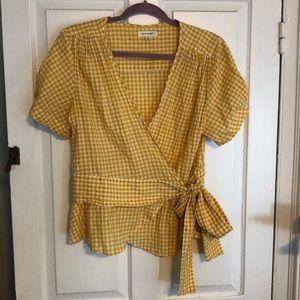 Yellow Gingham Wrap shirt